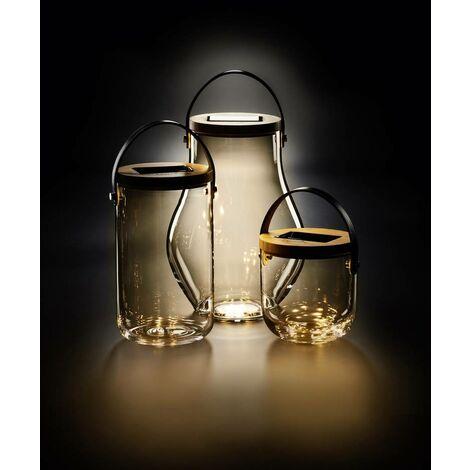 "Krinner Deco Glass ""Long"" 22510 Dekoleuchte LED Warmweiß Klar, Bambus, Schwarz X483701"