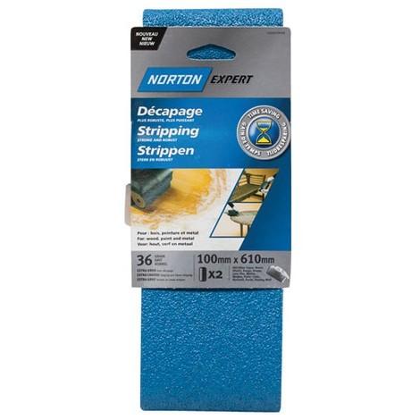 NORTON - Bande abrasive - blue tech - lot de 2 - grain 36 - 100x610 mm