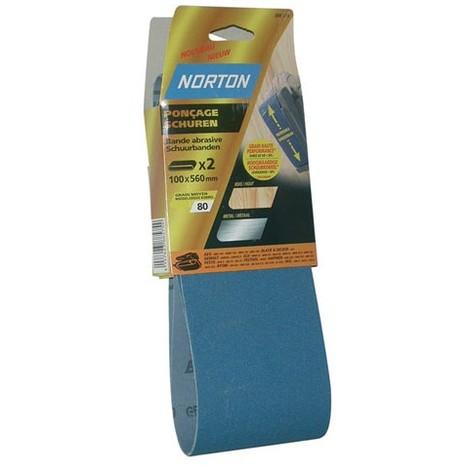 NORTON - Bande abrasive - blue tech - lot de 2 - grain 80 - 100x610 mm