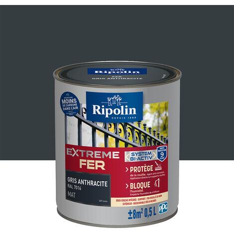 Peinture pour Fer Extérieur, Mat, Gris Anthracite 0,5L Ripolin - Gris Anthracite