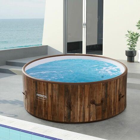AREBOS In-Outdoor Whirlpool Spa Piscina Bienestar Calefacción Masaje Inflable - Aspecto madera