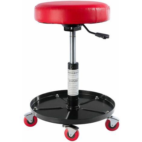 AREBOS Taburete de Taller Presidente del Taller Giro de 360°. Confort Estable - rojo