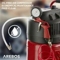 AREBOS compresor de aire comprimido 50 litros con accesorios de 13 piezas 10 bar - rojo