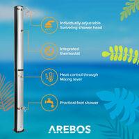 AREBOS Ducha solar con termómetro 40L - Plata / Negro