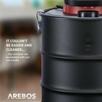 Arebos aspirador eco 15 l 1200 W cenizas aspiradora incl. filtro HEPA - rojo negro