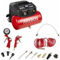 AREBOS Compresor De Aire Comprimido 6L 1200W 13 Piezas + Manguera Espiral - Rojo