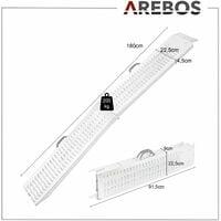 2x AREBOS Rampa de Carga Acero max. 400 kg Plegable Rampa de Acceso - Plateado