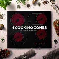 AREBOS Piano Cottura in Vetroceramica 4 Zone di Cottura 59 cm 7200W