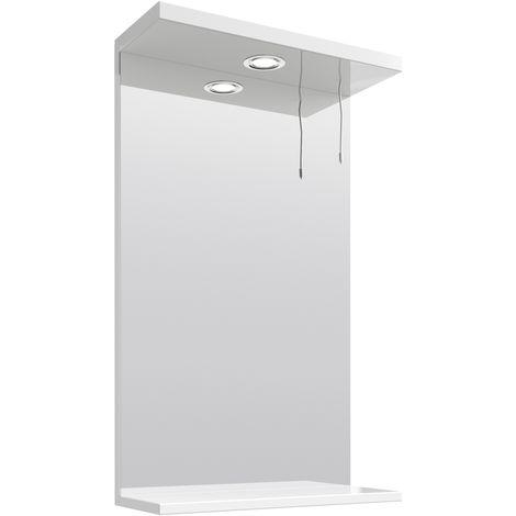 VeeBath Linx Bathroom Mirror Wall Hung Mounted Storage Unit Shelf Lights - 450mm