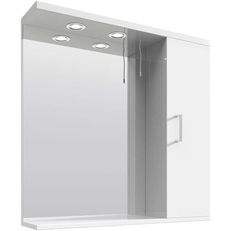 VeeBath Linx Bathroom Mirror Wall Hung Mounted Storage Unit Shelf Lights - 750mm