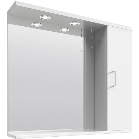 VeeBath Linx Bathroom Mirror Wall Hung Mounted Storage Unit Shelf Lights - 850mm