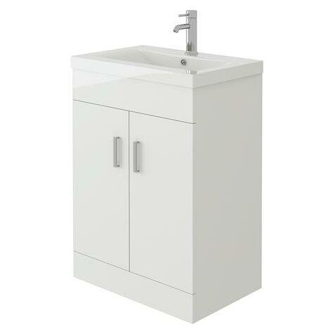 VeeBath Sobek Free Standing Basin Vanity Cabinet White Sink Furniture - 600mm