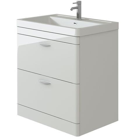 VeeBath Cyrenne White Floor Standing Bathroom Vanity Basin Sink Cabinet - 700mm