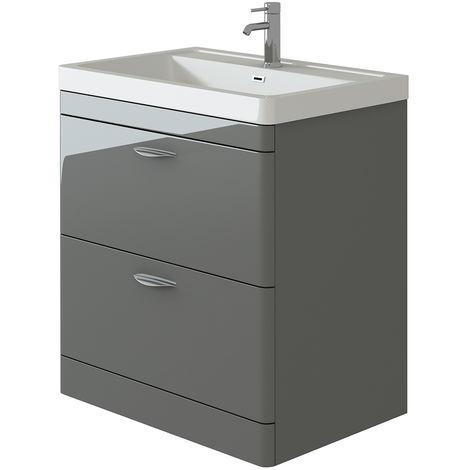 VeeBath Cyrenne Grey Floor Standing Bathroom Vanity Basin Sink Cabinet - 800mm