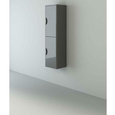 VeeBath Cyrenne Bathroom Tall Tallboy Grey Gloss Storage Cupboard Unit - 1400mm
