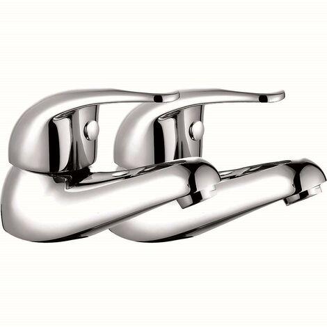 VeeBath Luton Luxury Single Lever Hot & Cold Bathroom Sink Basin Taps - Chrome