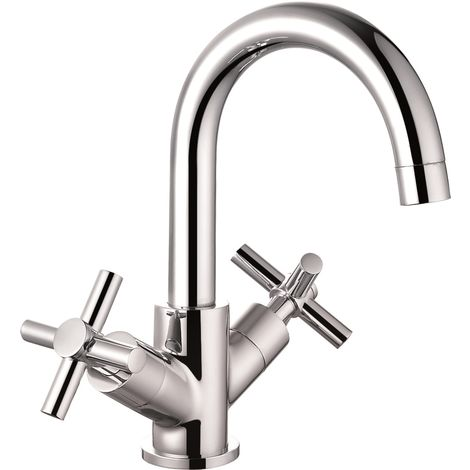 VeeBath Elmbridge Crosshead Mono Basin Mixer Tap Faucet, Sink Waste - Chrome