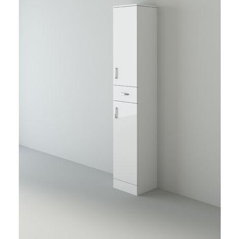 Veebath Linx Bathroom Tall Tallboy Cupboard White Gloss Storage - 350 x 300mm
