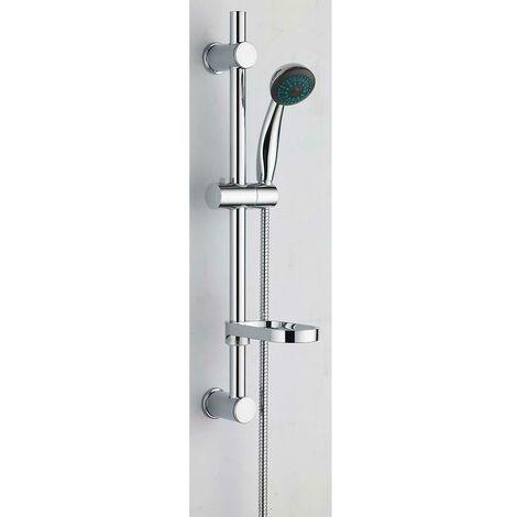 VeeBath Beta Round Shower Kit Chrome Bar Riser Rail Shower Hose & Soap Dish