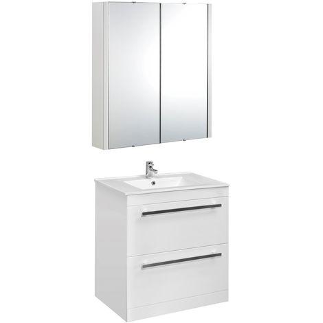 VeeBath Sphinx 700mm Floor Standing Vanity Unit & Mirror Cabinet Bathroom Set