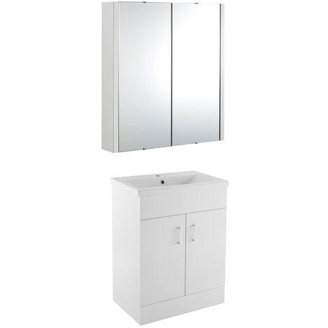 VeeBath Sobek 600mm Floor Standing Vanity Unit & Mirror Cabinet Bathroom Set