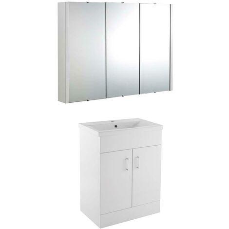 VeeBath Sobek 700mm Floor Standing Vanity Unit & Mirror Cabinet Bathroom Set