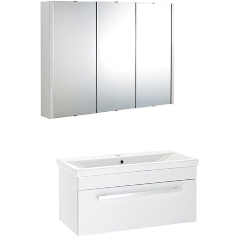VeeBath Sobek 800mm Wall Hung White Vanity Unit & Mirror Cabinet Bathroom Set