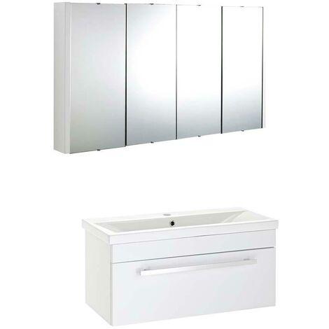 VeeBath Sobek 1000mm Wall Hung White Vanity Unit & Mirror Cabinet Bathroom Set