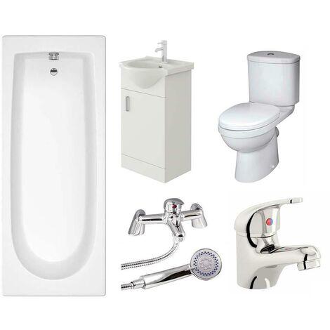 VeeBath Rosina Vanity Unit, Toilet & Single Ended Bath Bathroom Suite - 1600mm