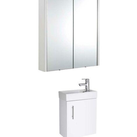 VeeBath Sheen 400mm Floor Standiing Vanity Unit Ceramic & Mirror Cabinet - White