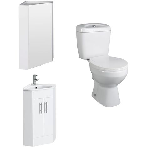 VeeBath Linx White Gloss Corner Vanity Unit, Base Toilet & Corner Wall Cabinet