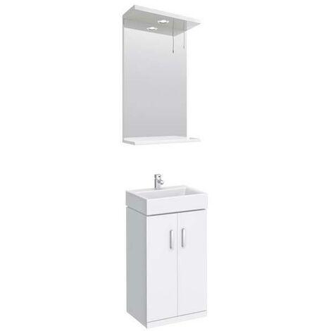 VeeBath Linx 450mm Mini Cloakroom White Gloss Vanity Basin Unit & Mirror Set
