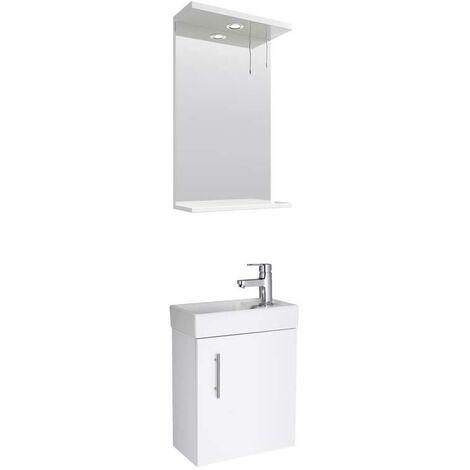 VeeBath Sheen 400mm Small Wall Hung Vanity Unit Ceramic Basin & Mirror - White