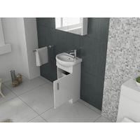 VeeBath Linx Basin Vanity Cabinet White Cloakroom Bathroom Sink Unit - 420mm