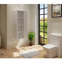 VeeBath Cyrenne Bathroom Tall Tallboy White Gloss Storage Cupboard Unit - 1400mm