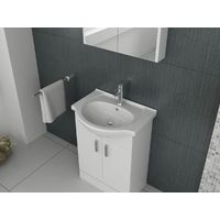VeeBath Linx Vanity Basin Cabinet Storage Unit Gloss White Ceramic Sink - 650mm