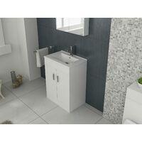 VeeBath Sphinx Free Standing Basin Vanity Cabinet White Sink Furniture - 600mm