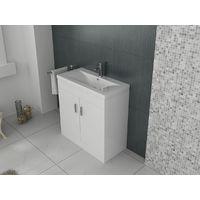 VeeBath Sobek Free Standing Basin Vanity Cabinet White Sink Furniture - 700mm
