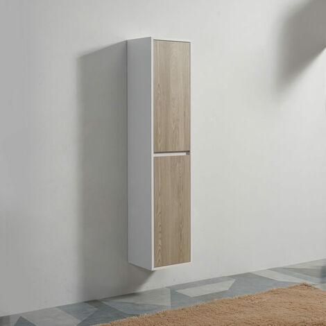 Colonne de salle de bain 2 Portes - Blanc et Chêne Gris - 160x35x30 cm - Scandinave