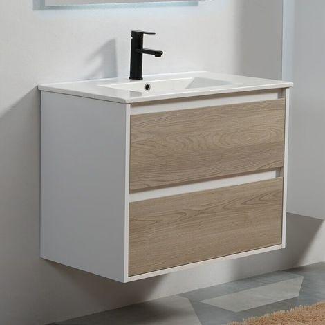 Meuble de salle de bain 2 Tiroirs - Blanc et Chêne Gris - Vasque - 80x46 cm - Scandinave