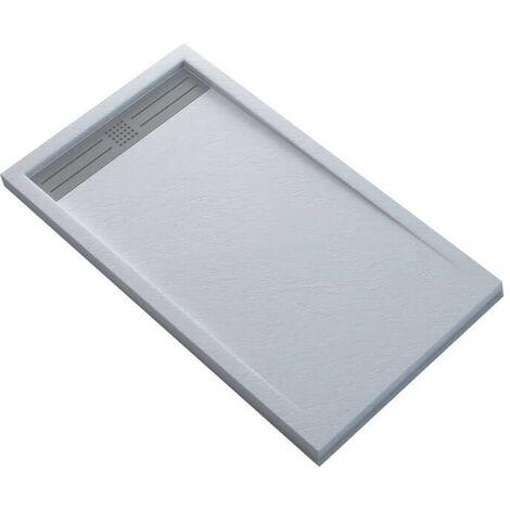 Receveur de Douche Extra Plat Rectangulaire avec Caniveau - Solid Surface Blanc - SlimLine Dimension - 100 x 80