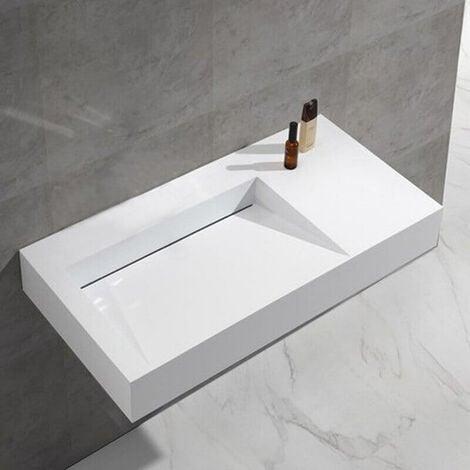 - 90 x 45 x 12 cm blanc mat Bernstein Badshop Vasque murale rectangulaire PB2049 en pierre solide Solid Surface