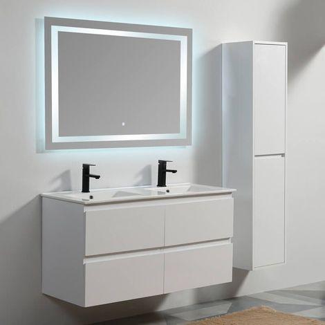Pack Meuble suspendu City 120 cm + Miroir Rectangle LED Connec't 120 Contenu du pack - 60be927e0c070