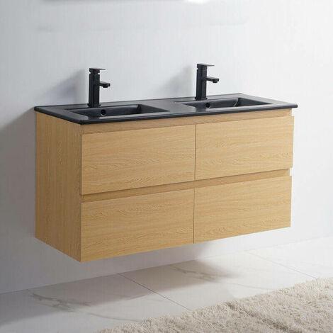 Meuble de salle de bain 4 Tiroirs - Chêne clair - Double vasque Céramique Noir Mat - 120x46 cm - Bali