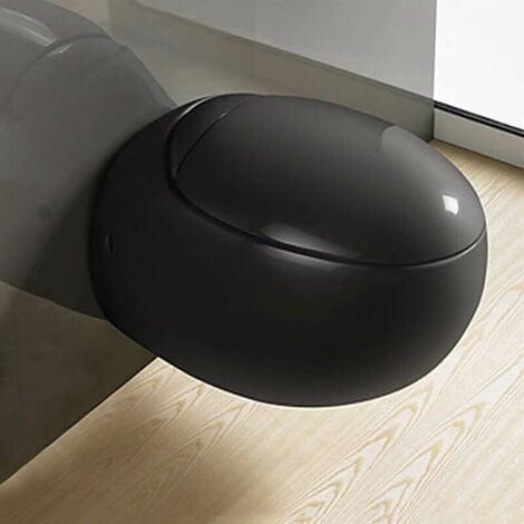 WC Suspendu Oeuf - Avec Abattant - Céramique Noir Brillant - 59x41 cm - Ove