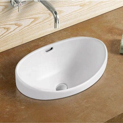 Vasque semi encastrable ovale céramique - 60x38 cm - Soft
