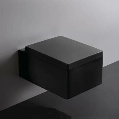 WC Suspendu Rectangulaire - Avec Abattant - Céramique Noir Brillant - 52x39 cm - Kube
