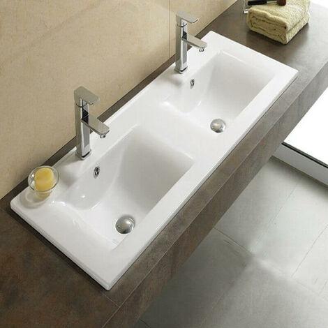 Lavabo double vasque encastrable céramique blanche - 121x47 cm - City