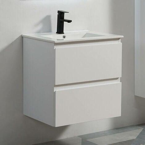 Meuble de salle de bain 2 Tiroirs - Blanc - Vasque - 60x46 cm - City