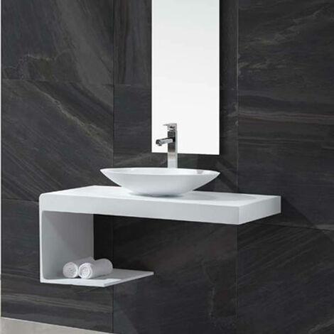Plan suspendu - Solid surface Blanc Mat - 100x48 cm - Lux